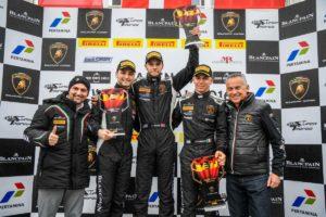 From left: Giorgio Sanna Head of Motorsport Lamborghini, Loris Spinelli, Dennis Lind, Vito Postiglione, Maurizio Reggiani Board Member for R&D of Lamborghini