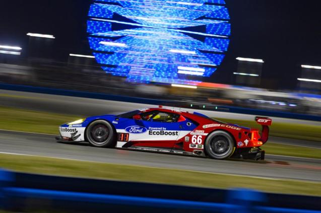 No. 66 Ford GT led much of the early hours
