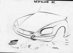 Disegno di Robert Opron per il nuovo frontale DS rilevato dalla maquette scolpita da Flaminio Bertoni