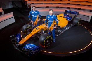 Lando Norris, Carlos Sainz with MCL34 2019 Launch event