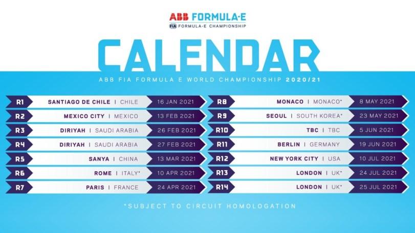 calendario formula e 2021