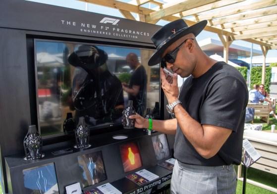 London's celebrity DJ Martin2Smoove testing the F1® Fragrances @ the F1 Paddock Club™ during the Formula 1® Pirelli British Grand Prix in Silverstone © Getty Images Antony JonesJPG