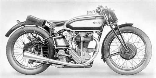 """Deze illustratie uit 1936 toont de eerste versie van de Norton """"Garden Gate"""" racer. Het geeft een goed beeld van de plunjer achtervering, die de machine zijn bijzondere bijnaam gaf. De achteras bewoog zich verticaal in twee buisvormige houders aan weerszijden van het achterwiel. De as werd per plunjer afgeveerd door twee veren die boven en onder de as gehuisvest zaten."""