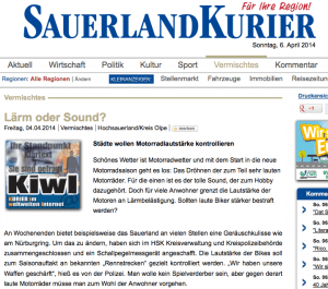 Ausriss aus dem Sauerlandkurier online.