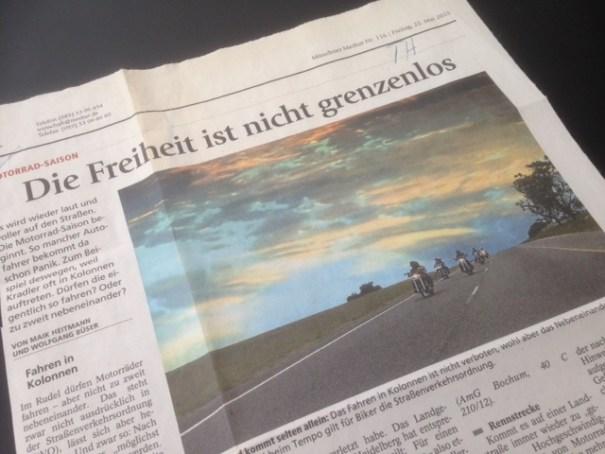 Der Münchner Merkur berichtet über die Freiheit auf zwei Rädern, die nicht grenzenlos ist.