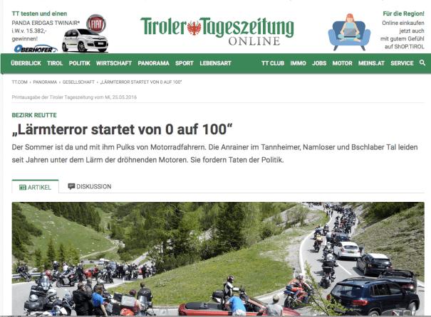 Tiroler Tageszeitung: Motorradlärm in den Bergen.