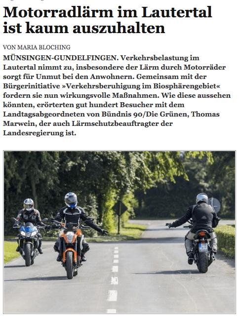 Ausriss aus dem Reutlinger Generalanzeiger: Im Lautertal gibts auch jetzt noch Protest gegen den Lärm.