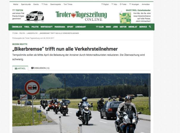 Die Alpenpässe ächzen unterm Lärm: Ausriss aus der Tiroler Tageszeitung (Österreich).