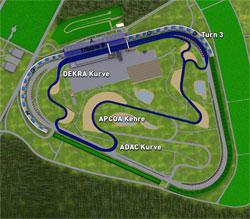 2005-heute Länge: 3,442 km (mit Schikane in Turn 1 3,478 km) kurze Strecke für Automobile verschiedene Streckenführung der Gegengeraden vor der ADAC-Kurve ab 2007 veränderte Streckenführung der ersten Kurve ab 2008 veränderte Boxeneinfahrt