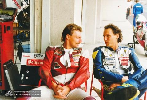Sachsenringrennen Most 1994, 250ccm, links Gerhard Lindner, rechts ?