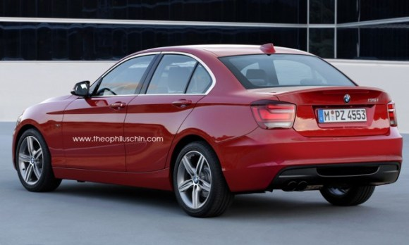 Heckansicht einer roten BMW 1er Limousine 2016 auf der Straße