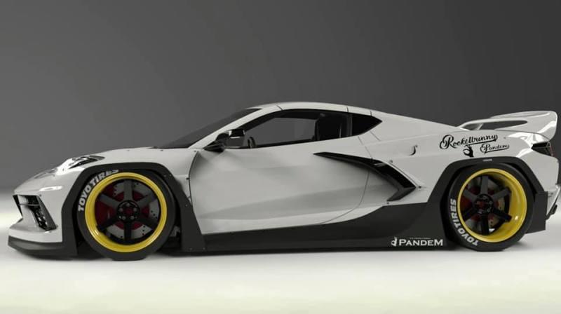 Pandem C8 Corvette widebody kit side view