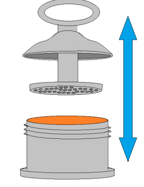 Figure 1: Mechanical Grease Worker (please imagine there are 60 holes in the piston face)