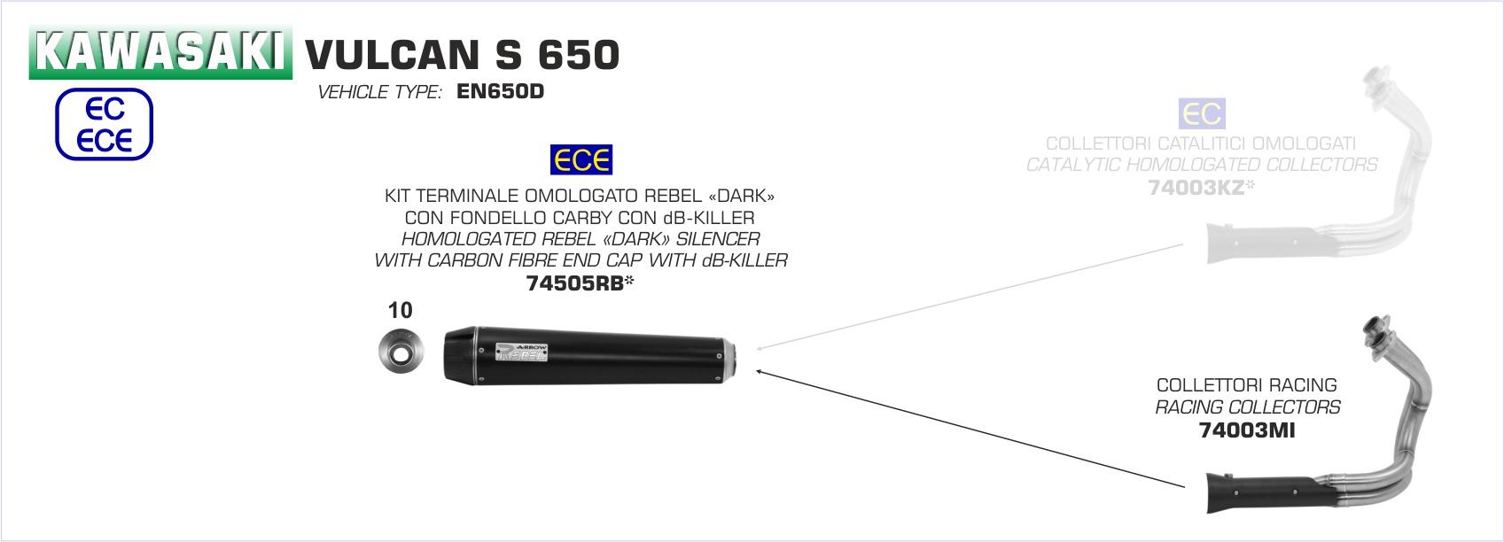 dark rebel full system exhaust by arrow 74505rb 74003mi