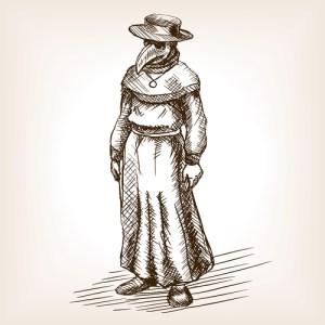 Fig. P. Médecin soignant la peste. 1638.