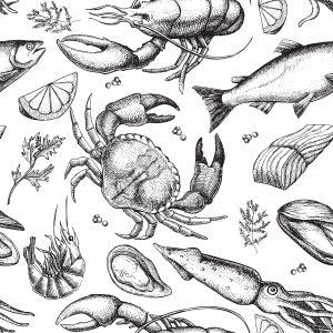 Fig. G. Coquillages et crustacés déplorant la fin de l'été. Milieu XXᵉ s.