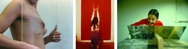 Ana Mendieta: Untitled (Glass on Body Imprints), 1972, Suite of six colour photographs, estate prints, 65 x 48 x 2,3 cm; Untitled (Body Tracks), 1974, Colour photograph, lifetime print, 25,4 x 20,3 cm, Collection Igor DaCosta; Untitled (Facial Hair Transplant), 1972, Suite of seven colour photographs, estate prints 1997, 32,4 x 48,9 cm; alle: © The Estate of Ana Mendieta Collection, L.L.C. Courtesy Galerie Lelong, New York and Paris and Alison Jacques Gallery, London