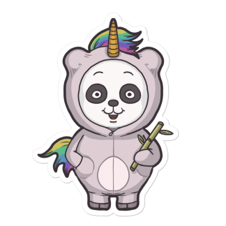 Sticker panda licorne