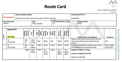 Example of a completed route card