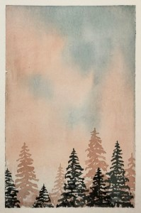 Peach and Green Misty Forest - Rebecca Goodman