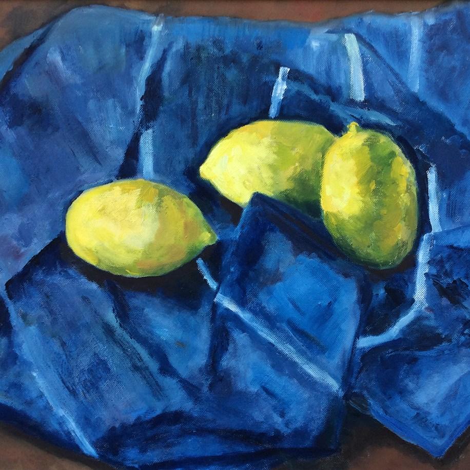 Lemons In A Blue Dish Towel - Susan Archibald