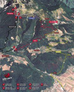 Streckenplan karte map bike park Krvavek