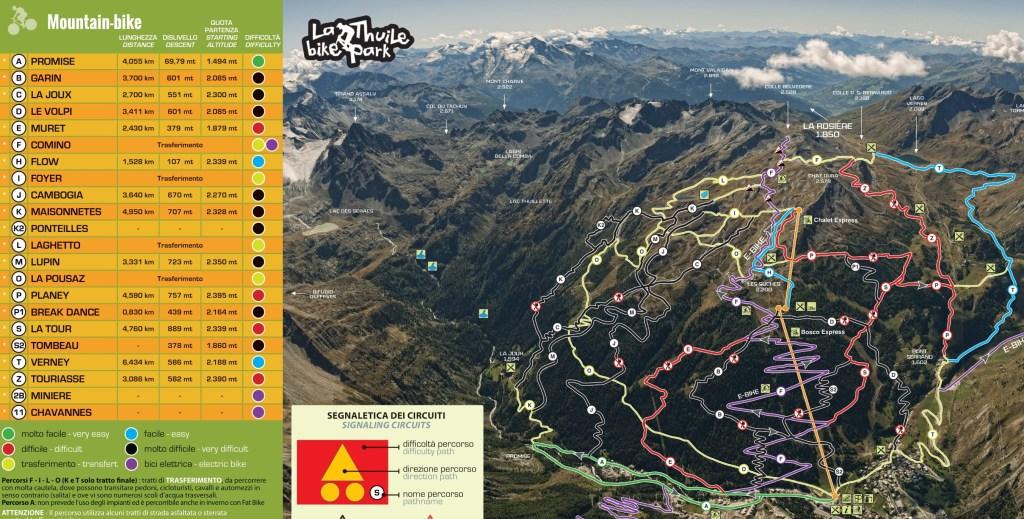mountainbike map kaart carte bike park la thuile