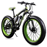 Richbit Updated Black Green Electric Bike TP12 36V 350W Lithium Battery Electric Mountain Bicycle with Shimano 21 Speeds 4.0 inch Fat Tire Suspension Fork
