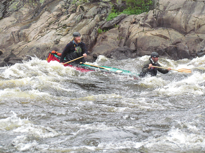 Ian Carr (stern) and Tom Downer submarining Trestle Rapids. Photo Jay Stiles.
