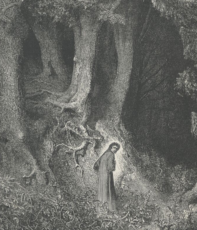 """I found me in a gloomy wood, astray."" Engraving by Gustave Dore of The Inferno by Dante Alighieri, Canto 1."