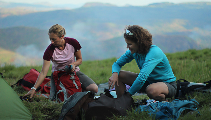 Kate Rutherford (left) and Majka Burhardt near Namuli in 2011.