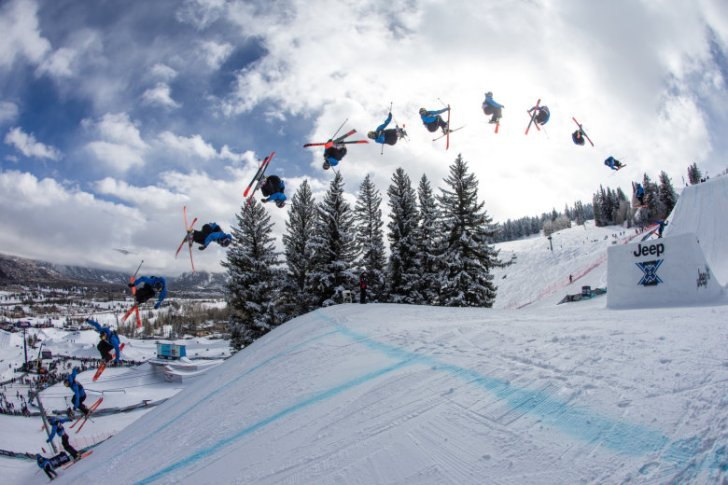 Nick Goepper competes during the Slopestyle Finals at the X Games Aspen 2013 in Colorado on. Photo courtesy Red Bull.