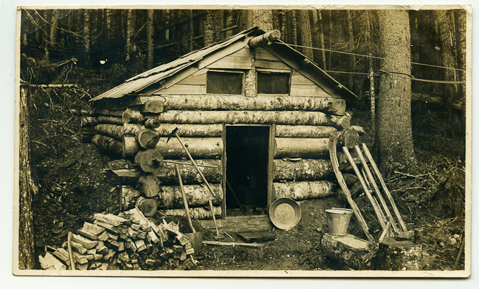 Alfred's prospecting cabin, unknown location. Photo courtesy of the Barnfield family.