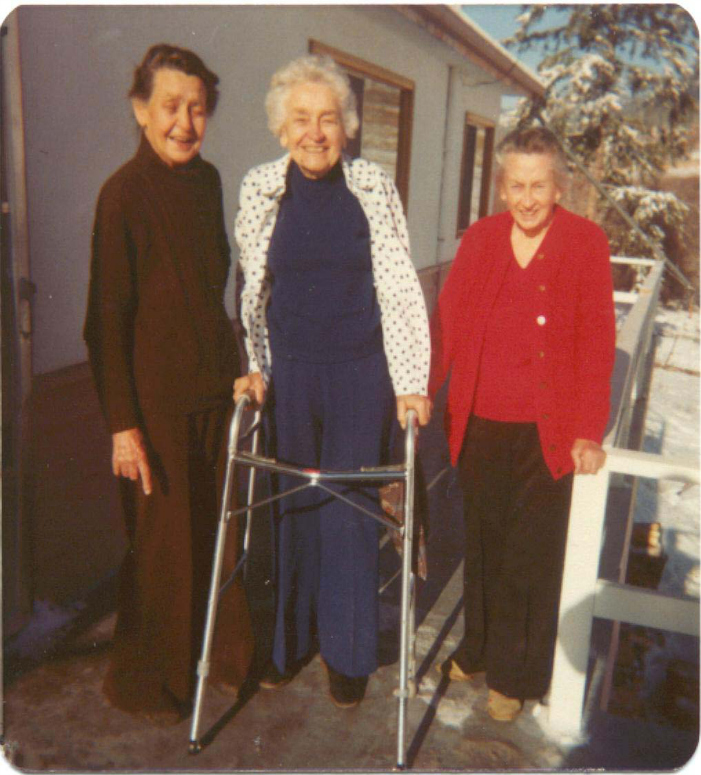 Margaret Esworthy, Myrtle Philip and Jean Tapley standing on the verandah of the West Side Road house in 1978. Myrtle with walker. Photo courtesy Whistler Museum.