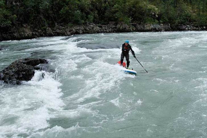Sean (Stanley) Leary tips his hand to some exciting rapids on the Little Nahanni. Nine hours in on Day two and lots more rapids to come.