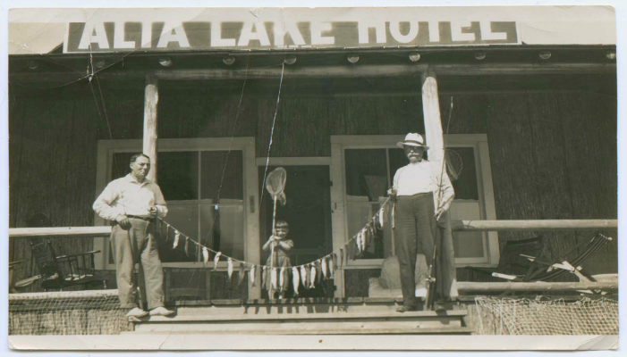 Alta Lake Hotel, c.1920s. Alta Lake was a premium fishing destination after the railway opened in 1914. The lakes were teeming with rainbow trout – a fisherman's dream. Photo courtesy Whistler Museum.