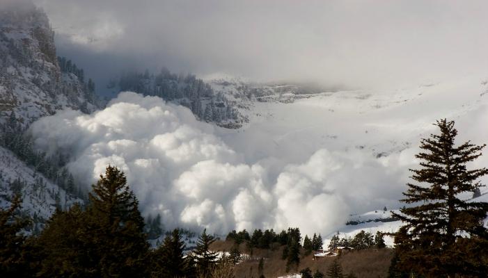 A massive, natural avalanche off Mt. Timpanogos, Wasatch Range, Utah.