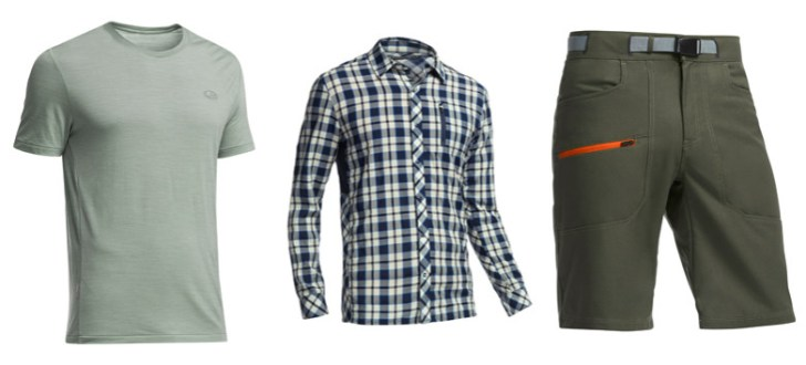 Left to Right: Cool-Lite T-Shirt, Compass Woven Shirt, Compass Shorts