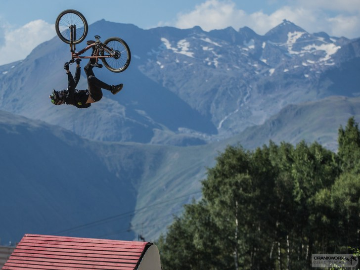 Brett Rheeder of Canada on the Slopestyle course at Crankworx Les Deux Alpes in France (P: Clint Trahan/ Crankworx)
