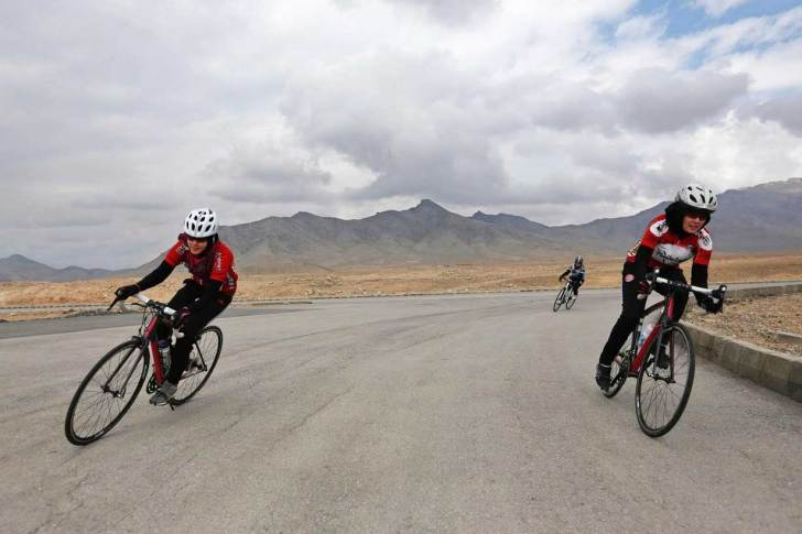 The Women's National Cycling Team of Afghanistan training outside Kabul.