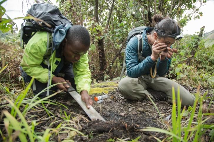 Flavia Esteves and Caswell Munyai in Mt. Namuli's pocket forest. JAMES Q MARTIN PHOTO.