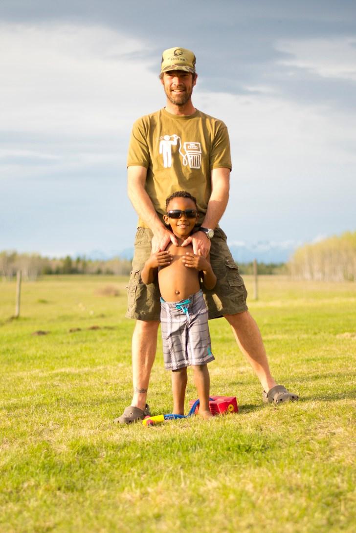 Dave Quinn and son Tumelo at their home near Kimberley, BC