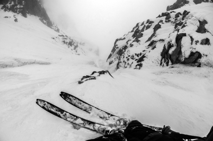 The first descent of Chatyn-tau's 2000 metre southeast couloir. TREVOR HUNT PHOTO.