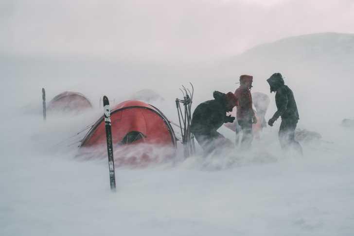 Ski glacier camp hit by snow storm