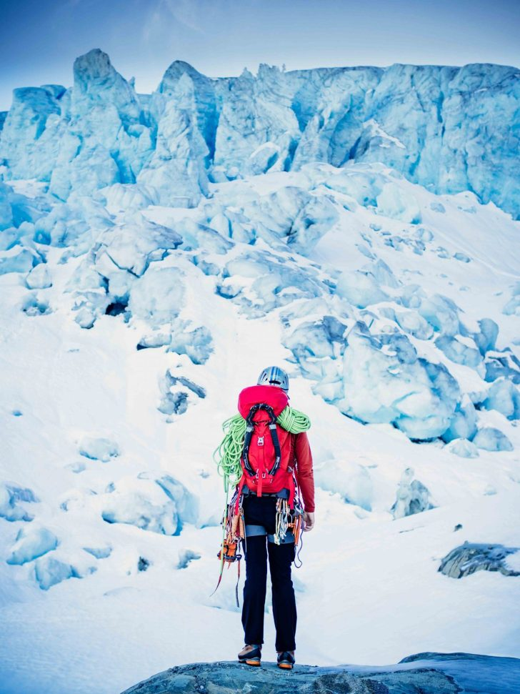 Ryan Larkin at the base of Matier Icefall scoping out the line of most resistance