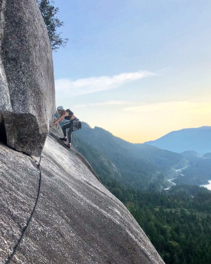 Leading out the second to last pitch on Skywalker in Squamish