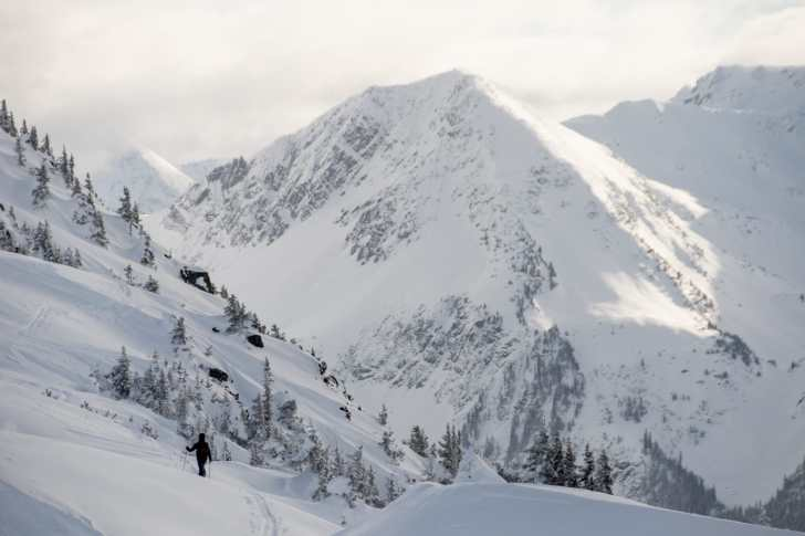 Skier heading into the backcountry