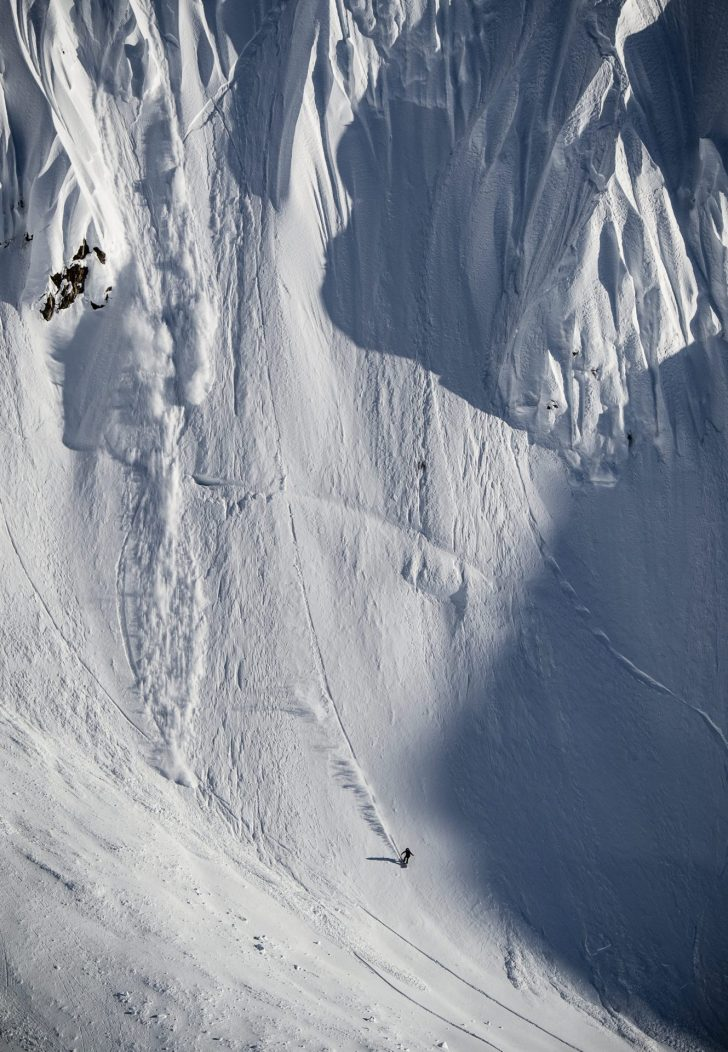 Finishing a big spine line in the mountains