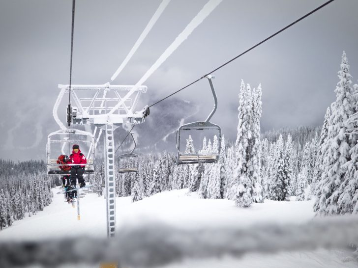 riding on lift at Sun Peaks