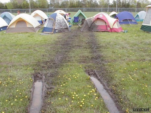 mud all over tents